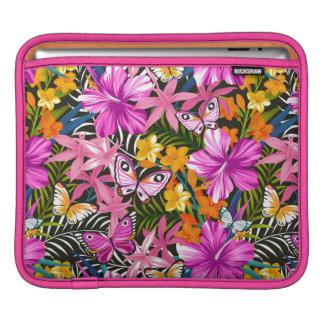 Tropical leaves and flowers iPad sleeve