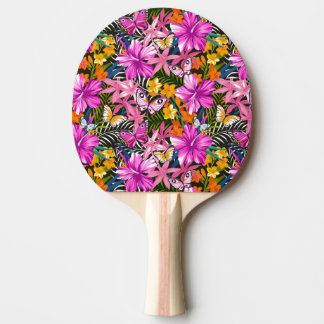 Tropical leaves and flowers ping pong paddle