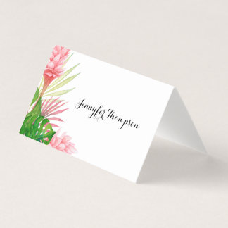 Tropical leaves and flowers place card