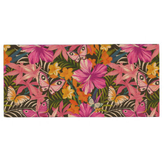 Tropical leaves and flowers wood USB 2.0 flash drive