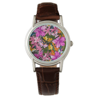 Tropical leaves and flowers wrist watches