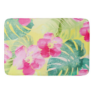 Tropical Leaves and Hibiscus Flowers Watercolor Bath Mat