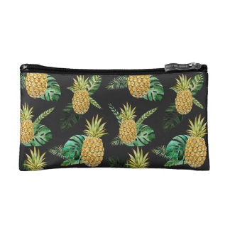 Tropical leaves and Pineapples print Cosmetic Bag