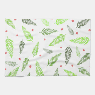 Tropical Leaves and Strawberry Pattern Kitchen Towel