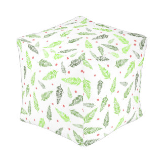 Tropical Leaves and Strawberry Pattern Pouf