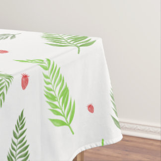 Tropical Leaves and Strawberry Pattern Tablecloth