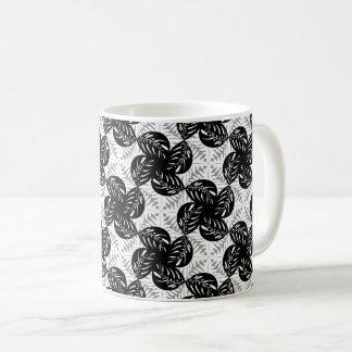 Tropical Leaves B&W, Gray Tessellation Mug #1