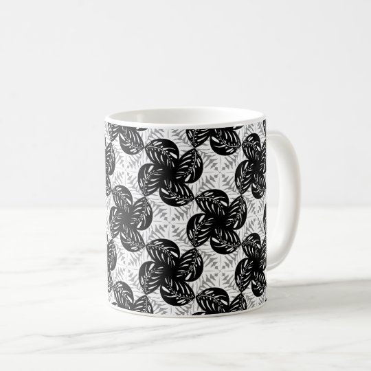 Tropical Leaves B&W, Grey Tessellation Mug #1