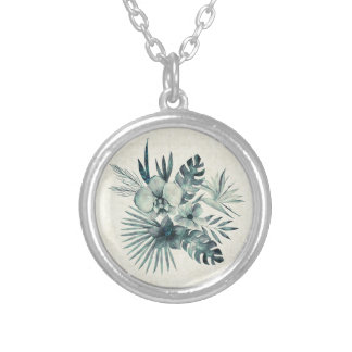 Tropical leaves bouquet silver plated necklace