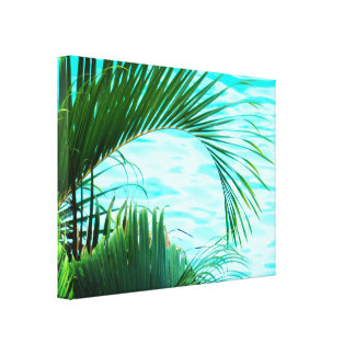 Tropical Leaves By The Pool Canvas Print