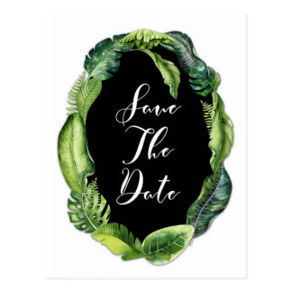 Tropical Leaves Elegant Wedding Save the Date Postcard