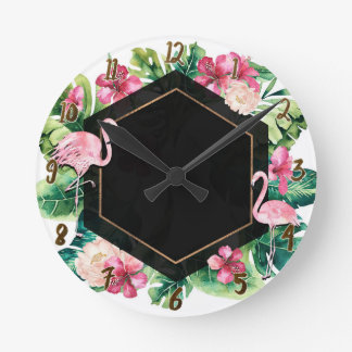Tropical Leaves & Flamingos Black Gold Chic Round Clock