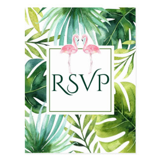 Tropical Leaves & Flamingos Summer Wedding RSVP Postcard
