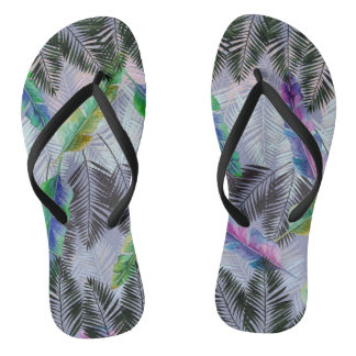 Tropical Leaves Flip Flops