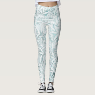 Tropical leaves foliage neutral blue green white leggings