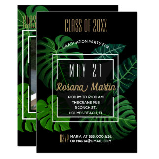 Tropical Leaves Graduation Party Invitation