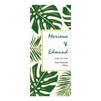 Tropical leaves green and gold wedding menu card customized rack card