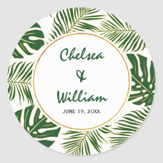 Tropical leaves green gold Save the Date wedding Round Sticker