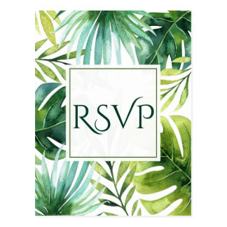 Tropical Leaves Hawaiian Summer Wedding RSVP Postcard