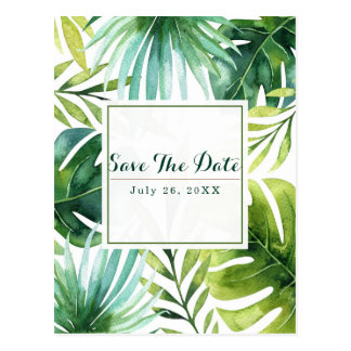 Tropical Leaves Hawaiian Wedding Save the Date Postcard