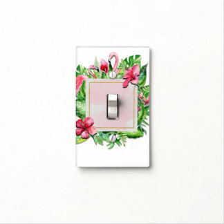 Tropical Leaves Hibiscus Flamingos Summer Tropics Light Switch Cover