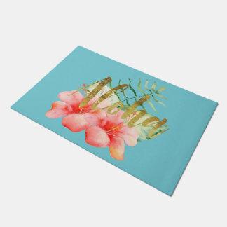 Tropical Leaves Hibiscus Floral Watercolor Aloha Doormat