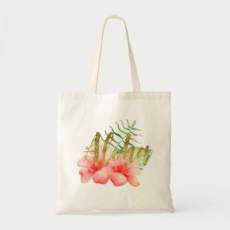 Tropical Leaves Hibiscus Floral Watercolor Aloha Tote Bag