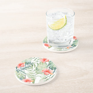 Tropical Leaves Hibiscus Floral Watercolor Coaster