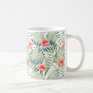 Tropical Leaves Hibiscus Floral Watercolor Coffee Mug