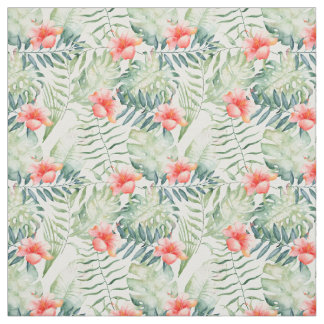 Tropical Leaves Hibiscus Floral Watercolor Fabric