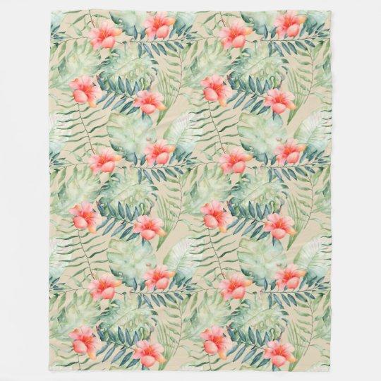 Tropical Leaves Hibiscus Floral Watercolor Fleece Blanket