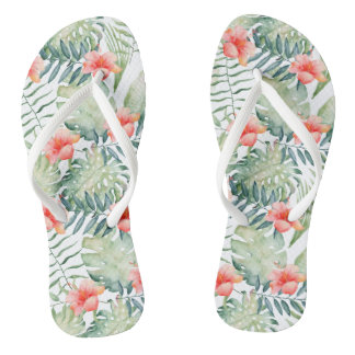 Tropical Leaves Hibiscus Floral Watercolor Flip Flops
