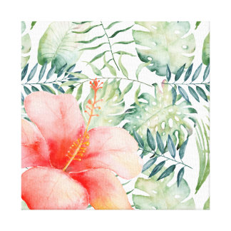 Tropical Leaves Hibiscus Floral Watercolor II Canvas Print