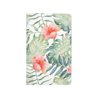 Tropical Leaves Hibiscus Floral Watercolor Journal
