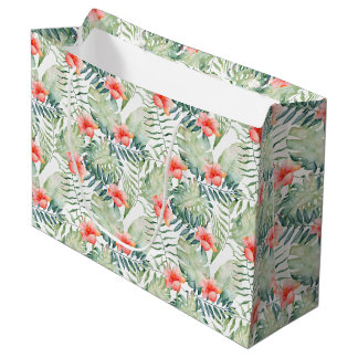 Tropical Leaves Hibiscus Floral Watercolor Large Gift Bag