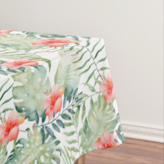 Tropical Leaves Hibiscus Floral Watercolor Tablecloth