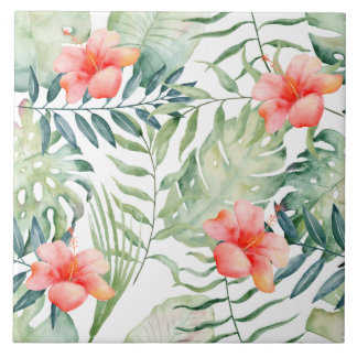Tropical Leaves Hibiscus Floral Watercolor Tile