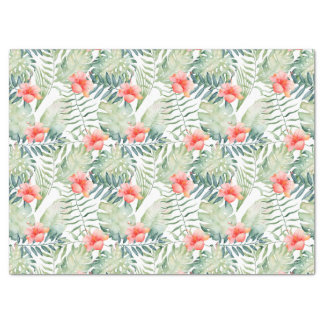 Tropical Leaves Hibiscus Floral Watercolor Tissue Paper