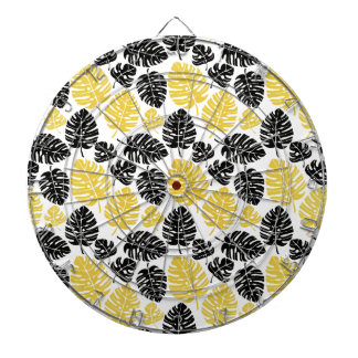 Tropical leaves in Gold and Black Dartboard With Darts