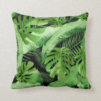 Tropical Leaves in Green & Black Throw Pillow