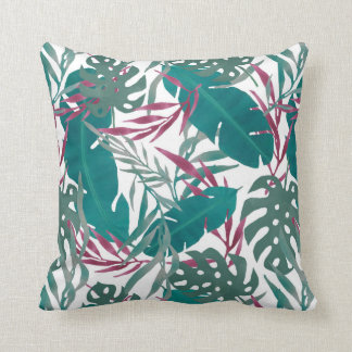 Tropical Leaves in Green & Reds Throw Pillow