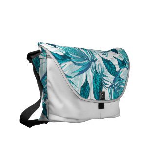 Tropical Leaves in Teal Commuter Bag