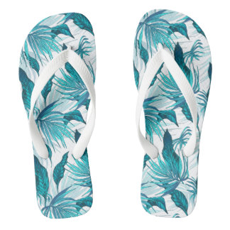 Tropical Leaves in Teal Flip Flops