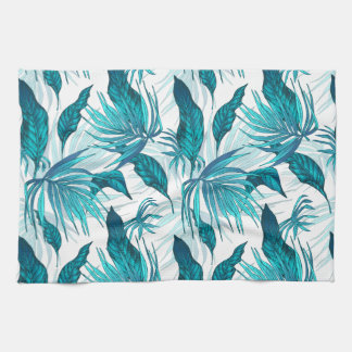 Tropical Leaves in Teal Kitchen Towel