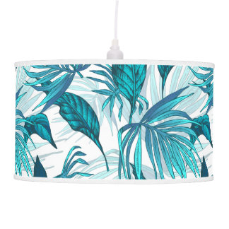 Tropical Leaves in Teal Pendant Lamp