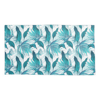 Tropical Leaves in Teal Pillowcase