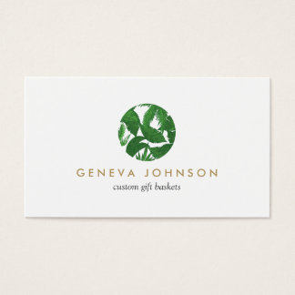 Tropical Leaves Logo for Gardeners, Florists, Gift Business Card
