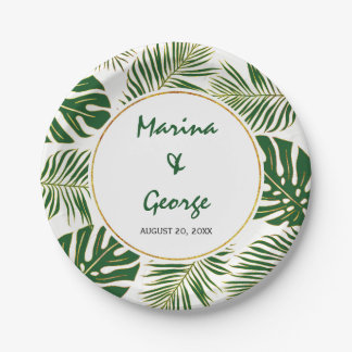 Tropical leaves modern green gold wedding 7 inch paper plate