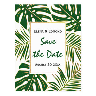 Tropical leaves modern green wedding Save the Date Postcard