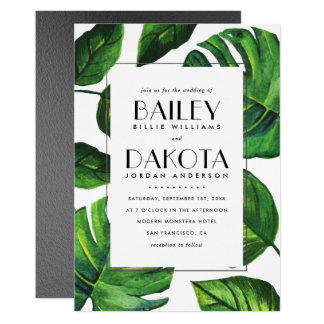 Tropical Leaves Modern Typography | Silver Wedding Card